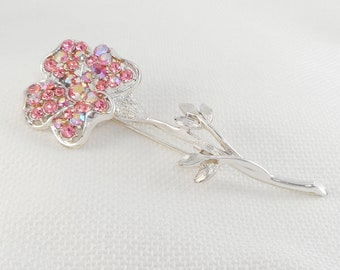 Vintage 1950's Coro Pegasus Long Stem Flower Brooch Old Coro Pink AB Stones Flower Pin Mid Century Coro Brooch Gift for Her Big Flower Pin