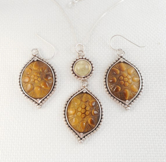 Ethnic boho safari style Natural stone brown cabochon Tiger/'s eye earrings Tiger eye jewelry Sterling silver 925 Womens vintage gift