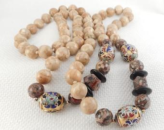 Vintage Jasper, Agate & Cloisonne Beads Necklace Crazy Lace Agate and Picture Jasper Beads Necklace Natural Stones Necklace Gift for Her