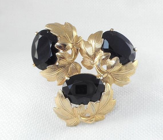Vintage Schiaparelli Leaves and Black Stone Brooch