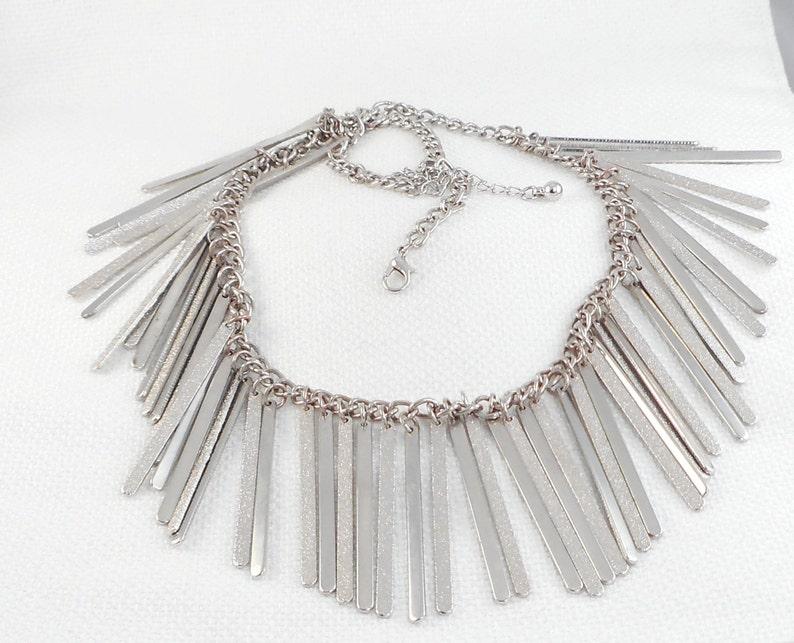 9081157c543c60 Vintage Mod Silver Bars Drop Necklace Silver Bib Drop Necklace | Etsy