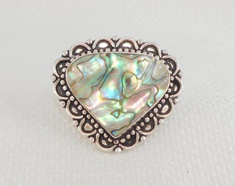 Vintage 925 Big Heart-Shaped Abalone Ring Sterling Big Heart Abalone Ring Boho Big Ring Statement Ring 925 Blue Green Ring Gift for Her