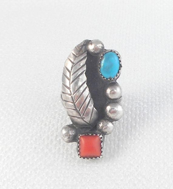 Vintage Big Navajo Coral Turquoise Ring Sterling S