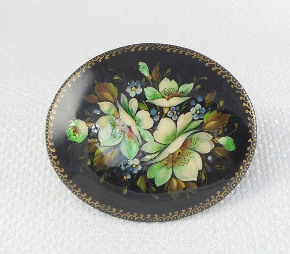 Vintage 1992 Fedoskino Mini Russian Lacquer Brooch