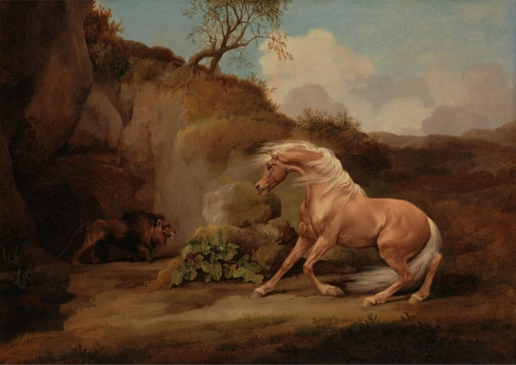 George Stubbs White Dog Painting Poster Fine Art Reprint A3 A4