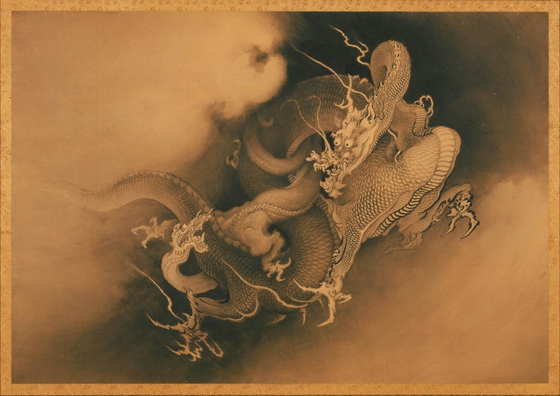 Kano Hogai: Two Dragons in the Clouds  Fine Art Print/Poster (0039)