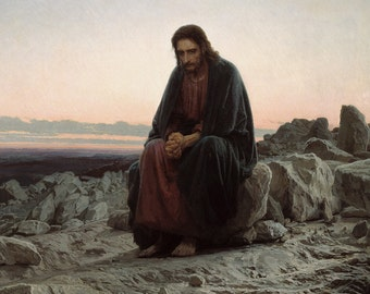 Ivan Nikolaevich Kramskoi: Christ in the Wilderness/Desert (1872). Fine Art Print/Poster. (0011)
