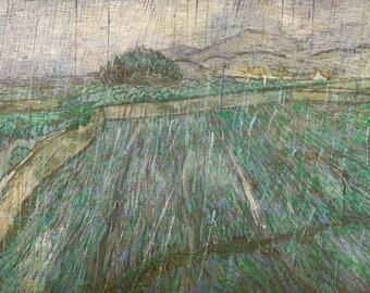 Vincent van Gogh: Wheat Field in the Rain. Fine Art Print/Poster (003914)