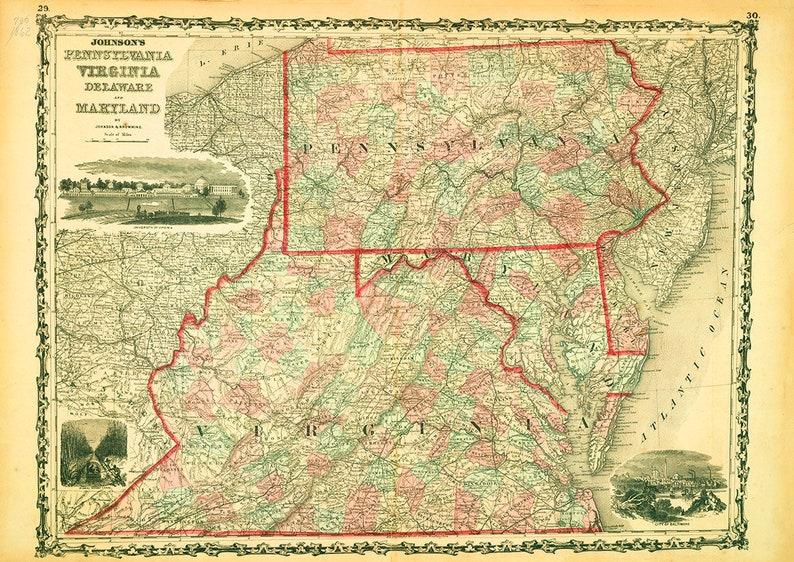Map of Pennsylvania Virginia Delaware Maryland 1862 Print/Poster (5181)