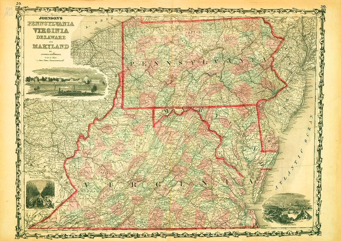 Pennsylvania Virginia Map.Map Of Pennsylvania Virginia Delaware Maryland 1862 Etsy