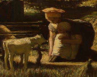 Matthijs Maris: Getting Acquainted (The Little Goat). Fine Art Print/Poster (004720)