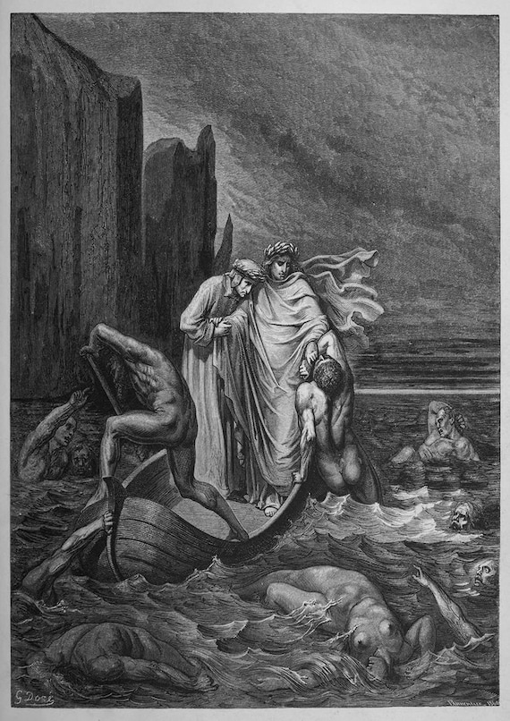 Gustave Dore Away Illustration From Dante S Inferno Fine Art Print Poster 003972