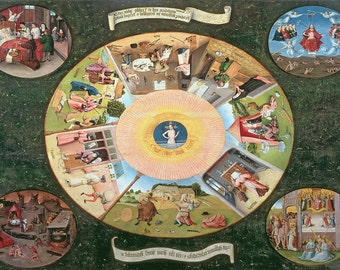 Hieronymus Bosch: The Seven Deadly Sins and the Four Last Things. Fine Art Print/Poster. (003638)