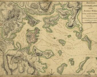 Map of Boston 1775. Print/Poster (4873)