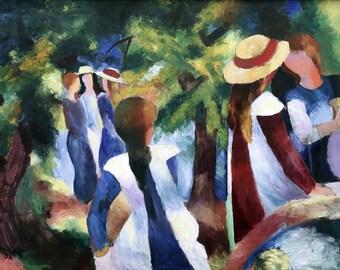 August Macke: Girls Under the Trees. Fine Art Print/Poster (00154)
