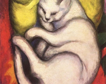 Franz Marc: Cat on Yellow Cushion. Fine Art Print/Poster (00691)