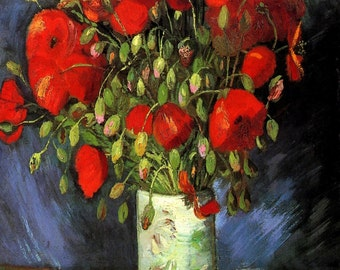 Vincent Van Gogh: Vase with Red Poppies. Fine Art Print/Poster. (001732)