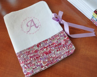 Book of Jenny's health Liberty ribbon and white linen