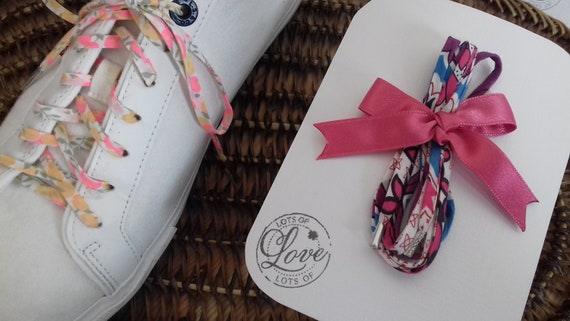 OOAKRARE Liberty shoe ties Laces in 35 cms blue Liberty Lisaa 35 cms long