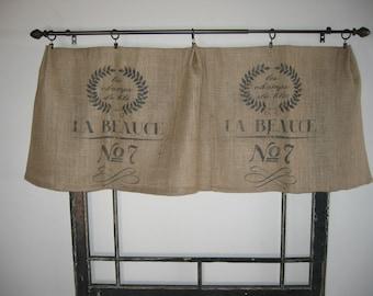 French Feed Grain Sack Bag Burlap Valance Curtain Panel
