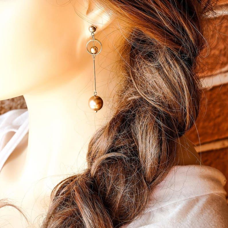 Modern Geometric Earrings Asymmetric Drop Earrings Stick Earrings Black Bar Earrings Long Pearl Earrings