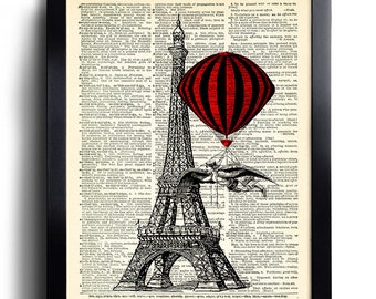 Hot Air Balloon Propeller Bicycle Art Print on Vintage Book Page Home Decor