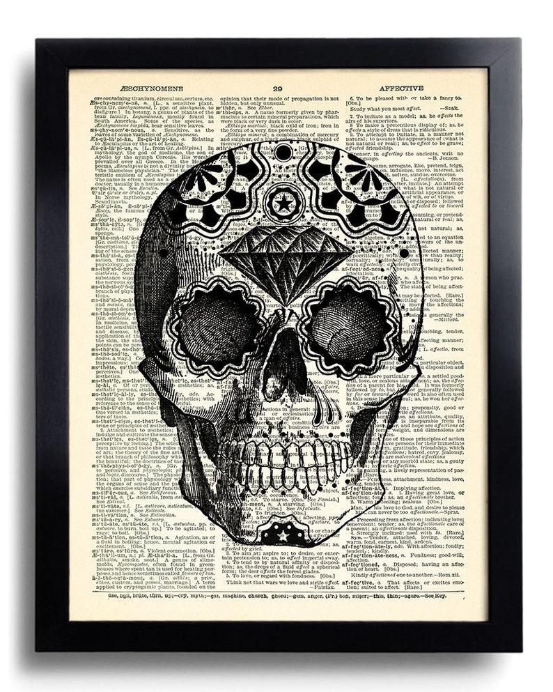 d2607be1bf1 Sugar Skull Art Print, Day of the Dead Art, Mexican Skull Poster, Gothic  Skull Artwork, Anatomy Wall Decor, Wall Decal,Tattoo Art Decor 393