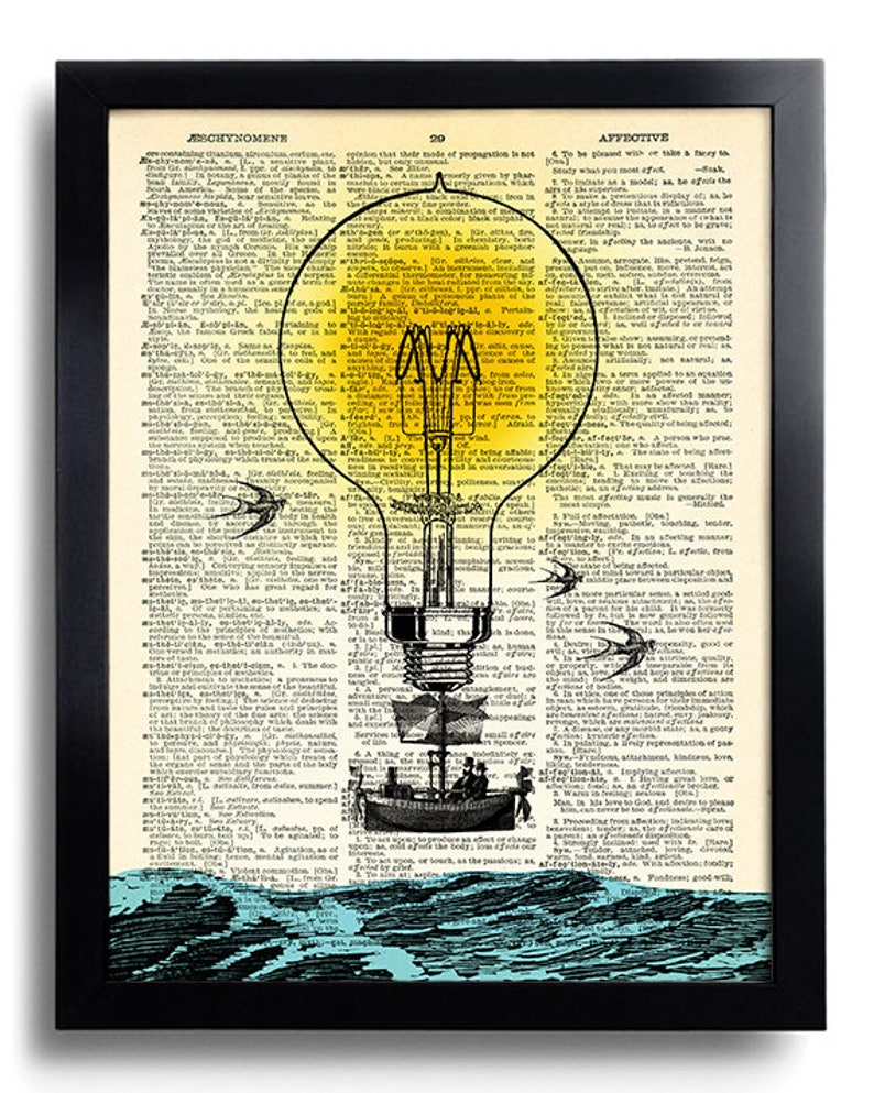 Hot Air Balloon Bulb Steampunk Wall Decor Art Print, Bedroom Wall Artwork,  Hot Air Balloon Decoration, Gifts for Him, Office Wall Art 422