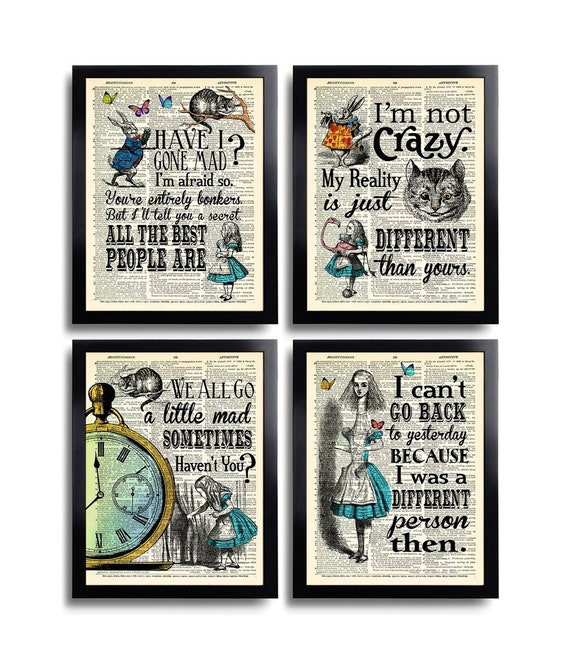Alice In Wonderland Wall Art Print Quote I Cant Go Back To Yesterday Home Gift