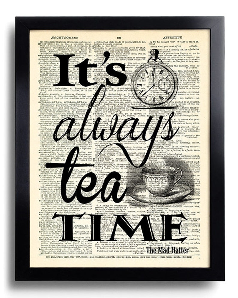 best authentic b1404 213aa Tea Time Quotes Alice In Wonderland Mad Hatter Art Print   Etsy