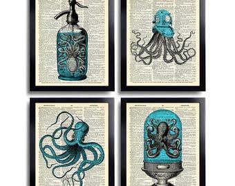 Octopus Art Print Set of 4 Prints Squid Gift Set Bathroom Wall Decor Sea Life Poster Octopus Nautical Squid Drawing Dictionary Art Print 589