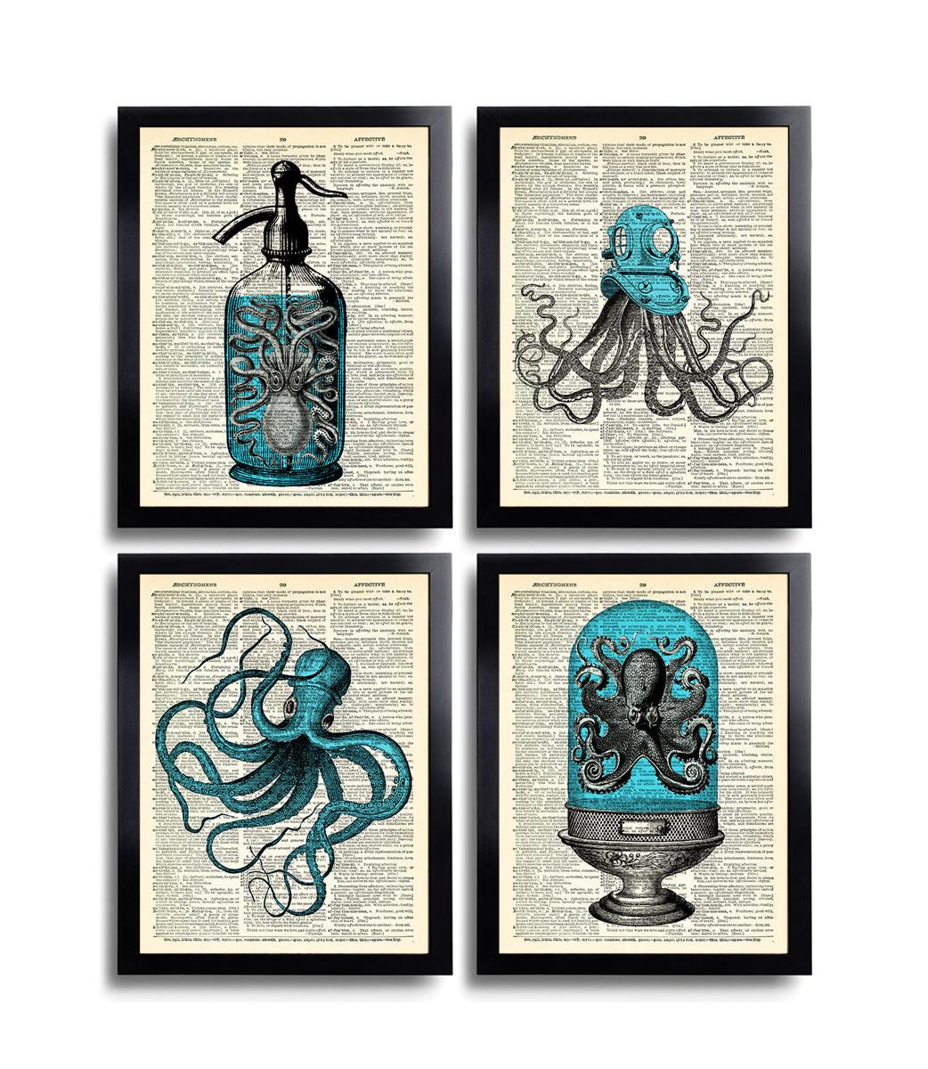 Bathroom Art Print Set Of 4: Octopus Art Print Set Of 4 Prints Squid Gift Set Bathroom