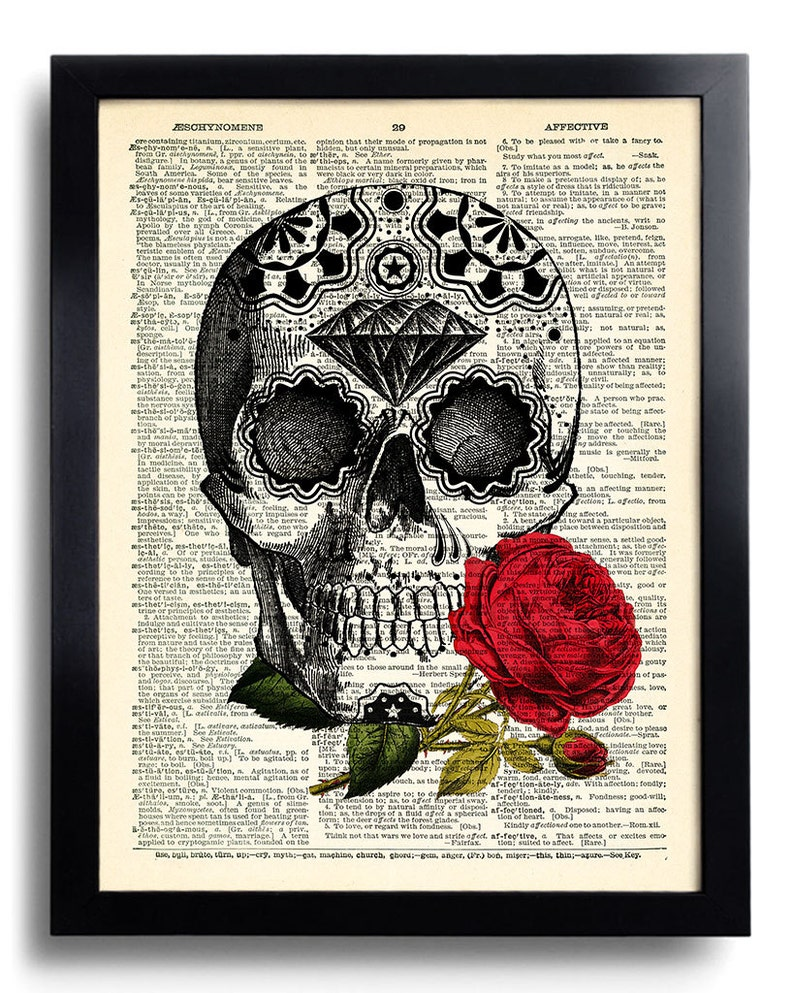 Day of the Dead Art Print, Sugar Skull Art, Mexican Skull Poster, Gothic  Skull Artwork, Anatomy Wall Decor, Wall Decal, Tattoo Art Decor 392