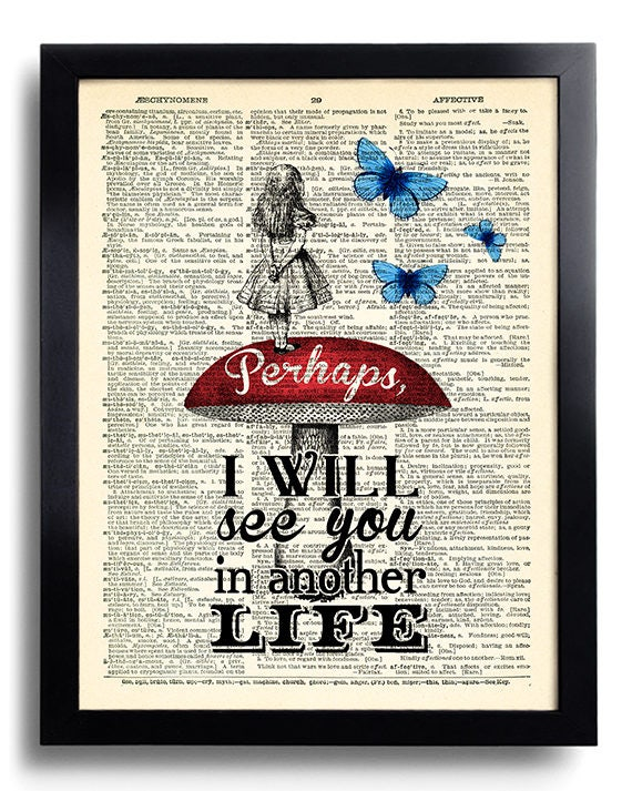 Alice In Wonderland Quotes Dictionary Art Print Alice In Etsy