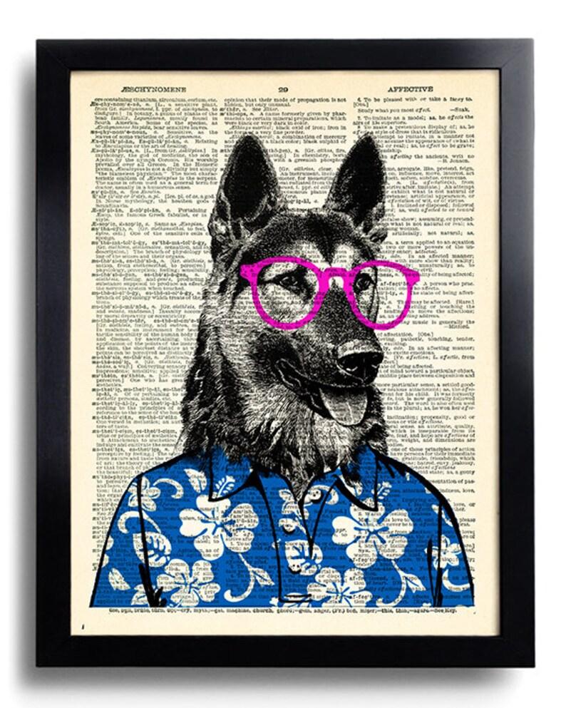 German Shepherd Dog Glasses Art Print, GEEKERY Wall Decor, Cool Dog  Dictionary Page Art, Anniversary Gifts for Boyfriend, Dog Wall Decor 500