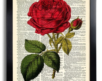 Flower Red Rose Art Print Vintage Book Page Print Recycled Vintage Dictionary Print Collage Repurposed Book Rose Wall Decor Rose Poster 085