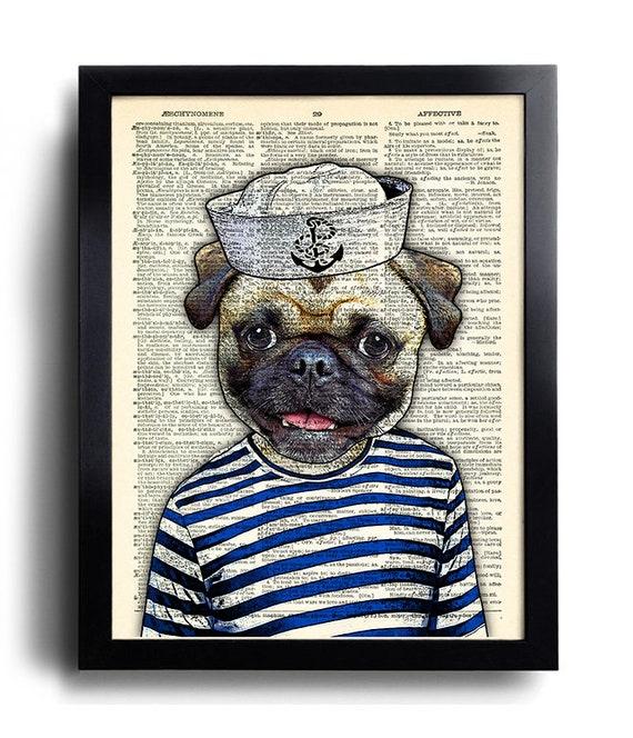 Funny Pug Dog Poster Sailor Pug Print Cool Dog Art Funny Pug Nursery Decor Dog Wall Decor Pug Artwork Gift for Wife Dog Kid room decor 616