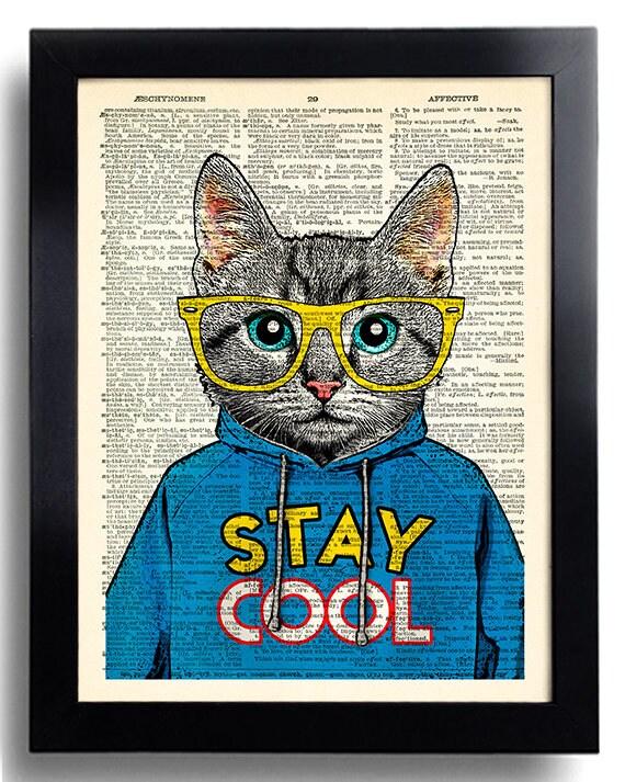Cool Cat Poster bleiben COOL Zitat Kunstdruck Katze Gläser | Etsy