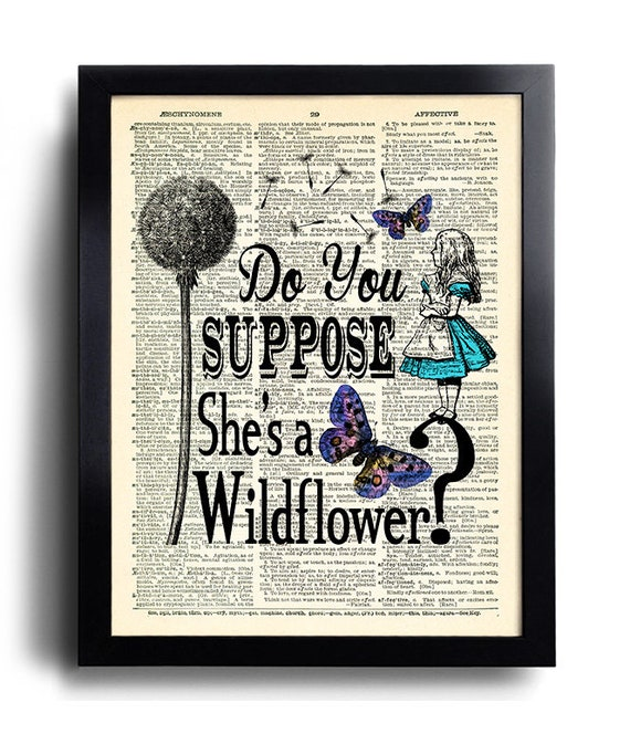 Alice In Wonderland Quotes Wall Decor Poster Art Alice In Etsy