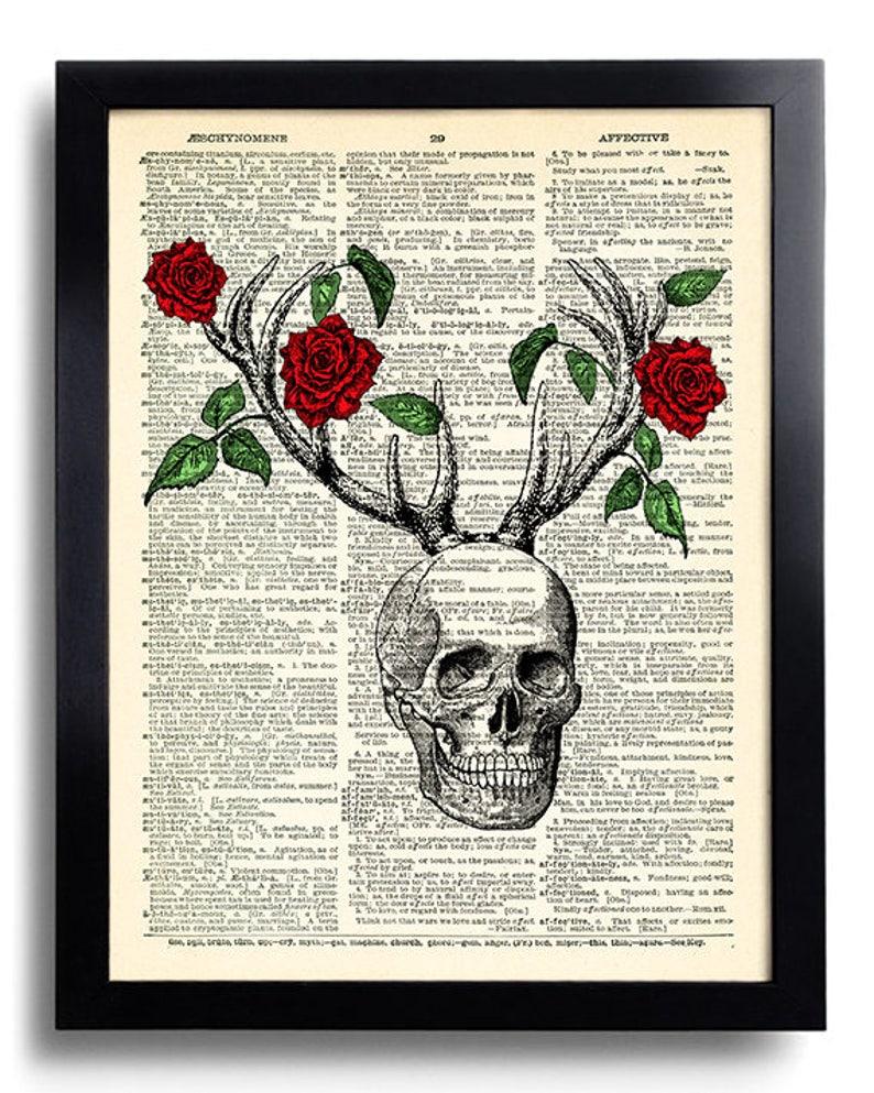 5cfd4d3d8 Skull Rose Flower Antler Deer Scary Deer Poster Art Gothic | Etsy