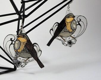 Art nouveau robin earrings Style 2