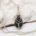Wire Wrapped SERPENTINE Crystal Necklace OOAK Handmade Jewelry Healing Crystal Jewelry The Stone Fairy Wicca Magic Bohemian Jewelry SET36
