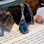 Wire Wrapped CHRYSOCOLLA Stone Positive Healing Reiki Energy Crystal Necklace Boho Chic Magic Wicca Gypsy Jewelry Great Gift Ideas CS12316