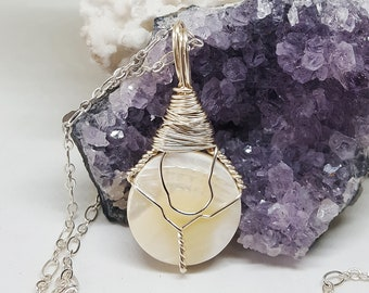 Wire Wrapped MOTHER Of PEARL Necklace OOAK Handmade Jewelry Healing Crystal Jewelry Stone Fairy Jewelry Wicca Magic Bohemian Jewelry MOP427