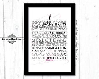 Dirty Dancing - Movie - Quotes & lyrics Typography - PRINT