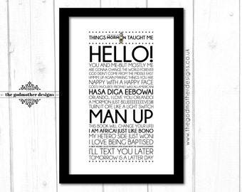 The Book Of Mormon - Broadway Musical - Quotes & Lyrics -  Typography - PRINT