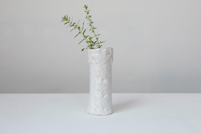 Ceramic flower vase M Candlestick holder Mflower Bud Vase White