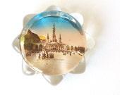 Lourdes. Vintage paperweight. Souvenir paperweight. Glass paperweight. French paperweight. Collectible glass. Paperweight. Vintage office.