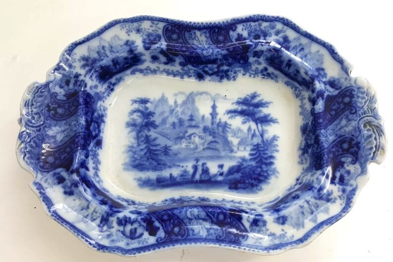 Flow blue china Vegetable server Antique bowl Blue white china Ironstone Antique china Romantic scene. Burgess /& Leigh Nonpareil