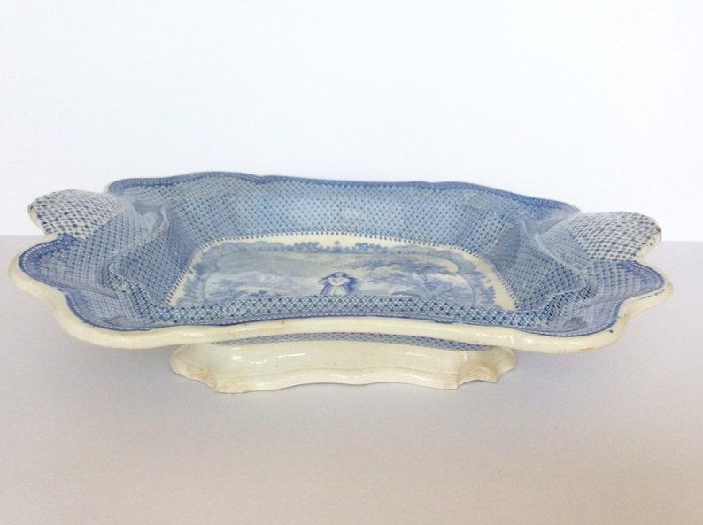 Antique plate Blue white china Rare. Lord Byron Transferware Collectible transferware Religious antique Ironstone Blue transferware